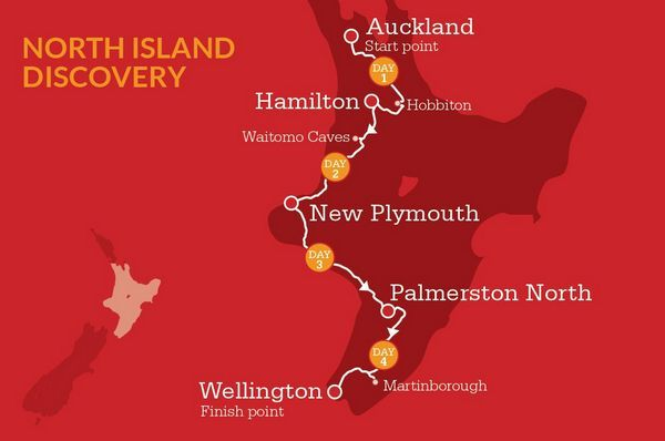 North Island Discovery Itinerary Map