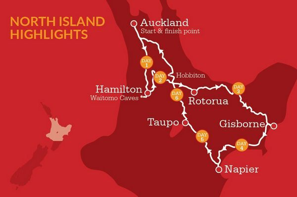 NZ North Island Itinerary Map