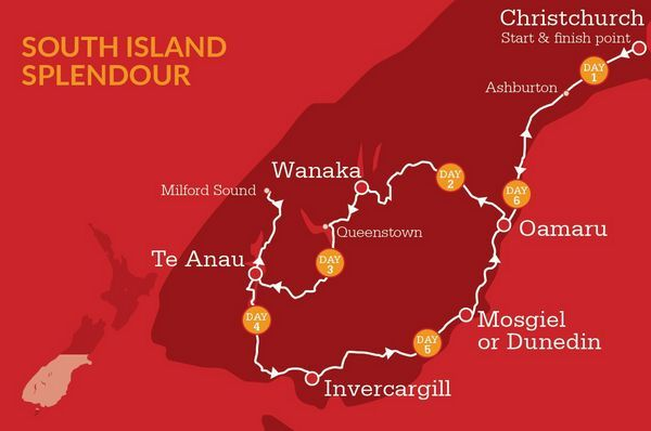 South Island Itinerary Map